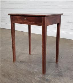 Sale 9215 - Lot 1004 - French Provincial Fruitwood Side Table, fitted with a frieze drawer & on tapering legs - some borer damage present (h:74 w:61 d:46cm)