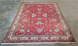 Sale 9240 - Lot 1007 - Handknotted red, green & gold Persian carpet (355 x 243cm)