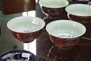 Sale 8123 - Lot 6 - Blue & White Red Glaze Pair of Bowls