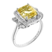 Sale 8221A - Lot 23 - 18ct White Gold Diamond and Stone Set Ring; centering a square step cut citrine estimated at 3.26ct, to surround and shoulders set w...