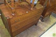 Sale 8359 - Lot 1732 - Silky Oak Chest Of Three Drawers With Brass Handles And Key Holes