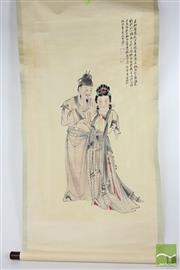 Sale 8529 - Lot 173 - Scroll Depicting Two Musicians L150cm