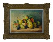 Sale 8620A - Lot 49 - Early C19th French School - Still Life of Pears & Apples 38 x 55cm