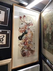 Sale 8803 - Lot 2014 - Japanese Gouache Painting, frame size : 101 x 57cm, unsigned