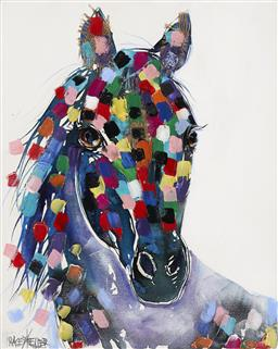 Sale 9187JM - Lot 5075 - TRACEY KELLER (1967 - ) Horse acrylic and mixed media on canvas 50 x 40 cm signed lower left