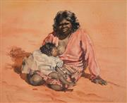 Sale 8000 - Lot 368 - Helen Baldwin (working 1940s - 1980s) - Untitled (Aboriginal Mother and Child) watercolour