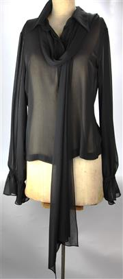 Sale 8087B - Lot 367 - FOUR CARLA ZAMPATTI SILK TOPS; black no sleeves (size8), turquoise no sleeves (12),  sheer with long sleeves in black and white  (ap...