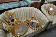 Sale 8115 - Lot 1462 - Set of 4 Oval Gilt Framed Bevelled Edge Mirrors & 4 Gilt Mirror Wall Sconces w 2 Holders (8)