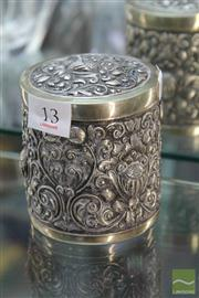 Sale 8256 - Lot 13 - Silver 800 Standard Lidded Relief Container (Weight - 182g)