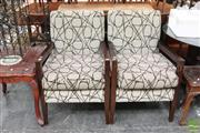 Sale 8465 - Lot 1593 - Pair of Moran Timber Framed Armchairs with Upholstered Back & Seat