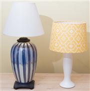 Sale 8470H - Lot 391 - A yellow shaded table lamp, together with another smaller example