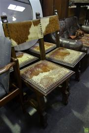 Sale 8566 - Lot 1609 - Set of Four Cow Hide Upholstered Dining Chairs