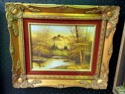 Sale 8659 - Lot 2049 - Artist Unknown - Highland Lake Scene, acrylic on canvas, 34 x 40cm (frame size), signed lower left