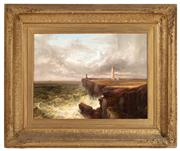 Sale 8804A - Lot 71 - Probably James Burrell Smith (British 1822-1897) - Stormy Waters off Lighthouse, 1863 45cm x 60cm in an elaborate gilt gesso frame