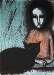 Sale 8858A - Lot 5023 - Robert Dickerson (1924 - 2015) - Girl with Cat 47 x 64cm