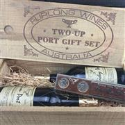 Sale 8933W - Lot 97 - 1x Furlong Wines Two-Up Port Gift Set - contains 2 bottles of Port (Rummy & Whisky) & gold plated Two-Up set, in timber box