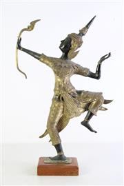 Sale 8948 - Lot 24 - A Bronze Thai Figure of An Archer Decorated with Gilt Metal Mounts (H 50cm)