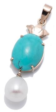 Sale 8999 - Lot 311 - A 9CT GOLD PEARL AND STONE SET PENDANT; featuring an 18 x 13.5mm cabochon turquoise suspending a 10.3 x 13.5mm drop shape cultured f...