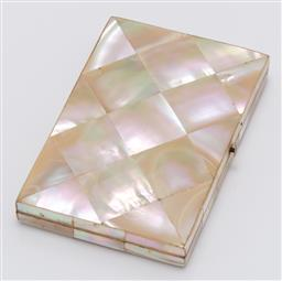 Sale 9180E - Lot 91 - A mother of pearl framed card cased with blue internal lining and nine card slots, Length 11cm x 7.5cm