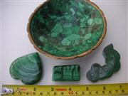 Sale 8064A - Lot 99 - Collection of Malachite including Bowl with Brass Rim, Carved Heart, Block, & Specimen (4)