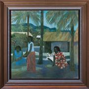 Sale 8313A - Lot 26 - Ray Crooke - Islander scene 76 x 76cm