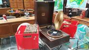 Sale 8383 - Lot 1088 - HMV Cased Gramophone with Paper Diaphragm and Two Boxes of Records (winder in office)