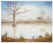 Sale 8506A - Lot 5019 - John Dynon (1954 - ) - Catching the Nights Tea ppn Coopers Creek, 1985 40.5 x 50.5cm