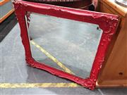 Sale 8744 - Lot 1066 - Red Painted Bevelled Edge Mirror