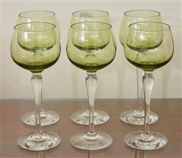 Sale 9098H - Lot 59 - A set of six green hock glasses with clear stems, Height 20cm