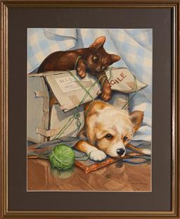 Sale 9123 - Lot 2087 - Charles Newman ( 1913 - ) Playful Pals, 1990 watercolour 45 x 34 cm (frame: 60 x 50 x 2 cm) signed and dated lower right
