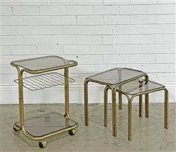 Sale 9188 - Lot 1289 - Pair of vintage tubular chrome nest of tables with smoky glass top with matching side table on castors (h38 x w47 x d31cm; h55 x w41...