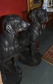 Sale 7962B - Lot 44 - Impressive pair of Exhibition quality C19th French Cast Iron Hunting Dogs cast by A Durenne, after H A Jacquemart