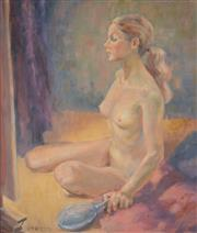 Sale 8000 - Lot 278 - Noel Kilgour (1900 - 1987) - Untitled (Model with Mirror) oil on canvas