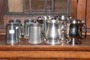 Sale 8015A - Lot 3 - Group of six silver plate tankards commemorating various victories