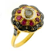 Sale 8087B - Lot 361 - A STERLING SILVER GILT RUBY AND DIAMOND RING; some chips to stones, size P