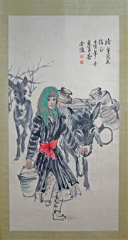 Sale 8221 - Lot 47 - Huang Zhou Signed Lady with Donkeys Hand Painted Watercolour Scroll