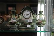 Sale 8226 - Lot 51 - Saunders Miniature Clock And Garniture Vases