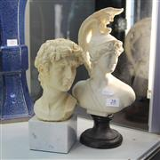 Sale 8236 - Lot 28 - Roman Soldier Bust & a David Bust