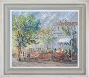 Sale 8309A - Lot 96 - Lilla Lowe (1896 - c1940s) - Luncheon Outdoors at Kings Cross 45 x 38cm
