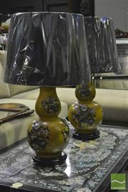 Sale 8368 - Lot 1048 - Pair of Floral Double Gourd Lamps (3244)