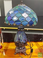 Sale 8545 - Lot 1006 - Large Leadlight Shade Table Lamp