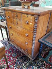 Sale 8792 - Lot 1080 - Late 19th Century Cedar Chest of Seven Drawers, flanked by half columns & on turned feet