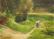 Sale 8858A - Lot 5077 - Dale Marsh ( 1940 - ) - The Girls by a River, 2001 40 x 50cm