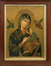 Sale 9069 - Lot 2003 - Antique Illuminated Chromolithograph with hand-colouring of S. Maria De Perpetuo Succursu After Angelo Puccinelli ,frame: 51 x 41c...