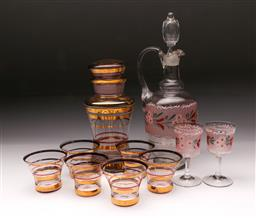 Sale 9098 - Lot 468 - Two sets of coloured glass drink sets