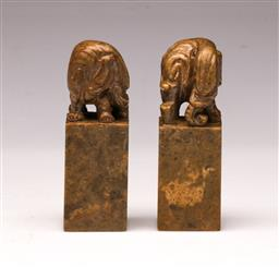Sale 9119 - Lot 46 - A cased pair of Chinese soapstone seals (H 5cm)