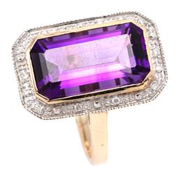 Sale 9132 - Lot 371 - AN AMETHYST AND DIAMOND COCKTAIL RING; set in 9ct gold with an emerald cut deep purple amethyst of approx. 4.80ct to surround set wi...