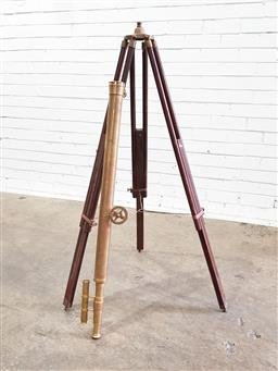 Sale 9142 - Lot 1052 - Reproduction Brass Telescope, with sighting scope & adjustable timber stand (Telescope Length: 98.5cm)