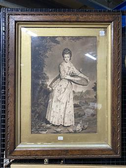 Sale 9176 - Lot 2014 - A C18th mezzotint of Young Maiden Feeding the Chickens, 74 x 59cm (frame)