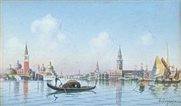 Sale 9237A - Lot 5022 - UMBERTO ONGANIA (167-1942) (ITALIAN) Venice, c1900 watercolour and gouache 13 x 22 cm (frame: 27 x 36.5 cm) signed lower right